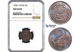 ZM942, Latvia, 2 Santimi 1926, NGC MS65BN, Pop 1/0