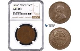 ZM946, South Africa (ZAR) Penny 1894, NGC AU58BN