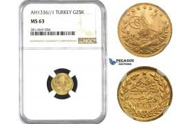 ZM949, Ottoman Empire, Turkey, Mehmed Vahdeddin VI, 25 Kurush AH1336/1, Qustantiniya, Gold, NGC MS63