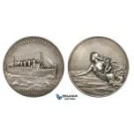 ZM962, France, Silvered Bronze Art Nouveau Medal (c. 1900) (Ø42mm, 27.8g) by Patriarche, Transatlantique Company, Mermaid