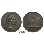 ZM971, Sweden, Cast Iron Medal 1783 (Ø34.4mm, 15.13.5g) by Fehrman, Pehr Wilhelm Wargentin, Astronomy, Rare!