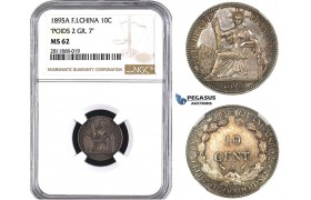 "ZM986, French Indo-China, 10 Centimes 1895-A, Paris, Silver ""Poids 2 Gr. 7"" NGC MS62, Pop 2/1, Very Rare!"