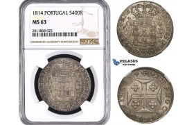 ZM989, Portugal, Joao VI, 400 Reis 1814, Lisbon, Silver, NGC MS63
