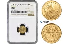 ZM992, Ottoman Empire, Turkey, Mehmed Vahdeddin VI, 25 Kurush AH1336/1, Qustantiniya, Gold, NGC MS64, Pop 1/0
