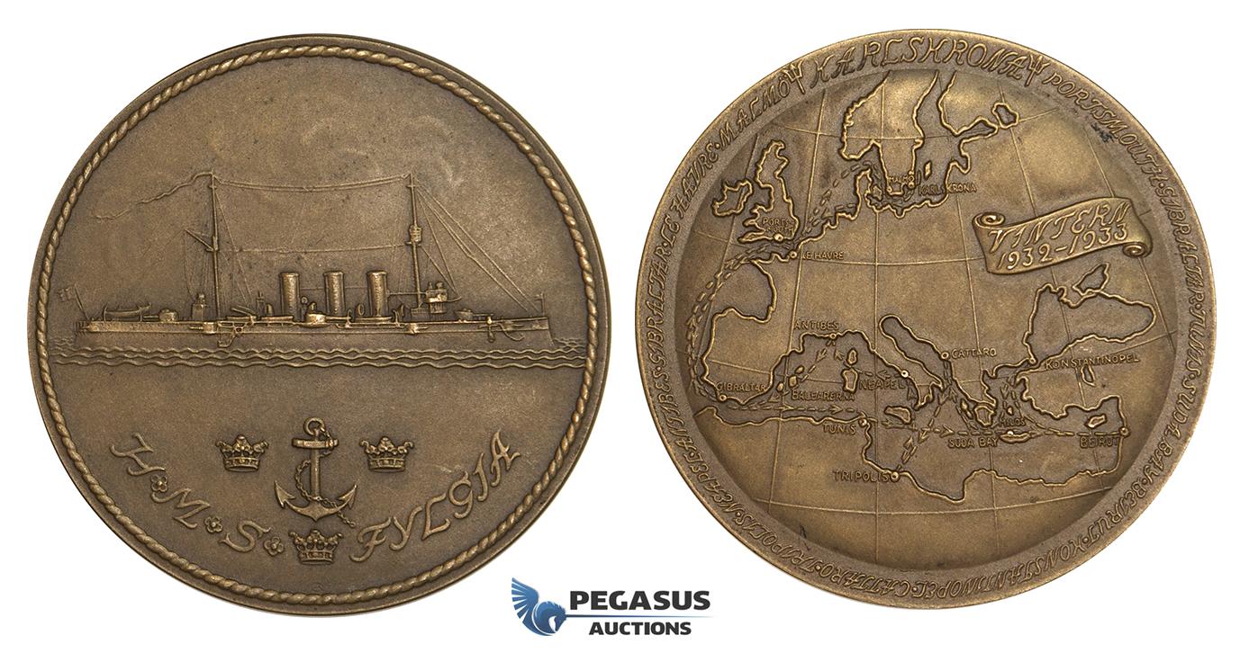 ZM898 Sweden Bronze Medal 1933 40mm 30g HMS Fylgia