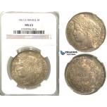 2404. France, Second Republic, 1848-1852 , 5 Francs 1851-A, Paris, Silver, NGC MS63