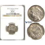 2432. France, Third Republic, 1871-1940, Franc 1871-A (Large A) Paris, Silver, NGC MS64