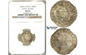 2566. Italy, Papal States, Pius IX, 1846­-1878, 10 Baiocchi 1856 (X) –R, Rome, Silver, NGC MS66