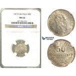 2600. Italy, Kingdom, Vittorio Emanuele II, 1861-1878, 50 Centesimi 1867-N/BN, Naples, Silver, NGC MS63