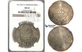 2656. Morocco, Yusuf, AH1330-1346 (1912-1927), Rial (10 Dirhams) AH1336-Pa (1918) Paris, Silver, NGC MS63