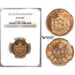 2837. Romania, Carol I, 1866-1914, 5 Bani 1867 Heaton, Birmingham, Copper, NGC PF65RD