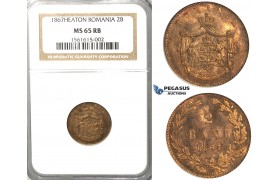2839. Romania, Carol I, 1866­-1914, 2 Bani 1867­ Heaton, Birmingham, Copper, NGC MS65RB