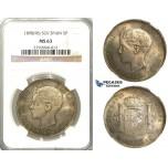 3031. Spain, Alfonso XIII, 1886-1931, 5 Pesetas 1898 (98) SGV, Valencia, Silver, NGC MS63