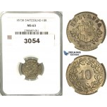 3054. Switzerland, Helvetian Republic, 10 Rappen 1873­-B, Bern, Silver, NGC MS63