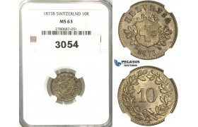 3054. Switzerland, Helvetian Republic, 10 Rappen 1873-B, Bern, Silver, NGC MS63