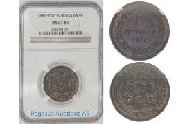 A07, Bulgaria, Alexander I, 5 Stotinki 1881 NGC MS63BN, Rare Grade! Pop 1/5