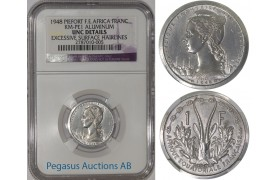 A10, French East Africa, Piefort Franc 1948, Aluminium (KM-PE1) 104 Struck, NGC UNC