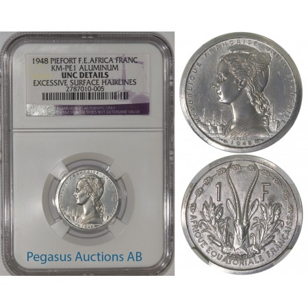 A10, French East Africa, Piefort Franc 1948, Aluminium (KM-PE1) 104 Struck, NGC UNC