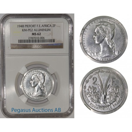 A11, French East Africa, Piefort 2 Fr 1948, Aluminium (KM-PE2) 104 Struck, NGC MS62