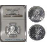 A14, French Indo-China (Vietnam) ESSAI 20 Cent. 1945, Aluminium (KM-PE5) 104 Struck NGC MS63