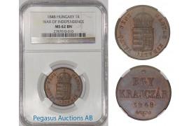 A19, Hungary 1 Krajczar 1848, War of Independence, NGC MS62BN