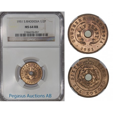 A34, Southern Rhodesia (Zimbabwe) 1/2 Penny 1951, NGC MS64RB