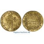 A44, Netherlands, Holland, Ducat 1758, Gold (3.49g) Nice!