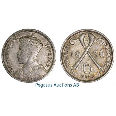 A47, Southern Rhodesia (Zimbabwe) George V, 6 Pence 1936, Nice!