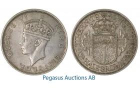 A55, Southern Rhodesia (Zimbabwe) George VI, Half Crown 1942, Very Nice!