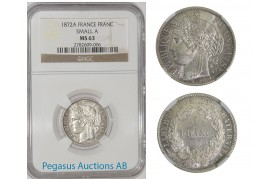 A69, France, Third Republic, CERES, Franc 1872-A (Small A) NGC MS63