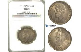 A75, Romania, Carol I, 2 Lei 1914, Silver, NGC MS65