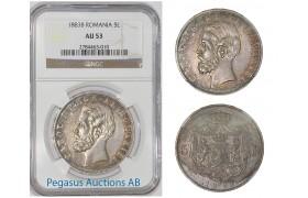 A76, Romania, Carol I, 5 Lei 1883 (Rare variety, Large Crown, Square) NGC AU53