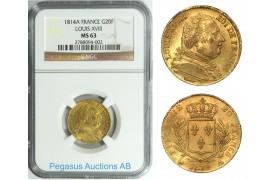 A95, France, Louis XVIII, 20 Francs 1814-A, Gold, NGC MS63
