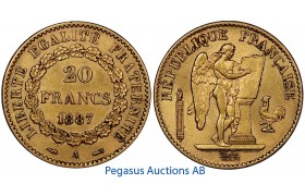 A97, France, Third Republic, 20 Francs 1887-A, Gold, 6.45g. 0.900, Nice!