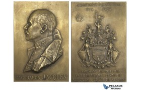 AA001 Belgium, 1921 Bronze Plaque Medal (70x47mm, 97.3g) by Bremaecker, Arabian Campaign, Lt. Baron Jacques, WW1