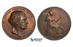 AA002 Denmark, Bronze Medal 1845 (Ø38mm, 29.3g) by Conradsen, Owl, Gustav Friedrich Hetsch
