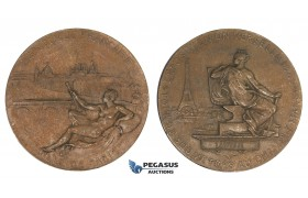 AA004 France, Bronze Art Nouveau Medal 1889 (Ø76mm, 199g) by Levillain, Universal Exhibition, Labor