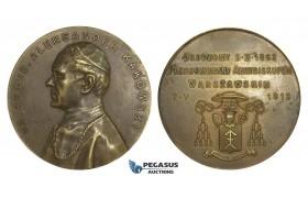 AA012, Poland, Bronze Medal 1914 (Ø50mm, 45g) Archbishop Aleksander Kakowski, Warsaw