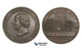 AA015 Sweden & United States, Bronze Medal 1889 (Ø45mm, 40.9g) John Ericsson, Watch Factory