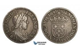 AA027, France, Louis XIV, 1/2 Ecu 1649-A, Paris, Silver, VF-XF