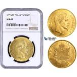 AA028, France, Napoleon III, 100 Francs 1855-BB, Strasbourg, NGC MS62, Pop 2/0, No finer! Rare!