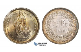 AA029, Switzerland, 2 Francs 1879-B, Bern, Silver, Rainbow toned AU