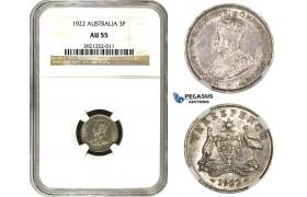 AA103, Australia, George V, Sixpence 1922, Silver,  NGC AU55