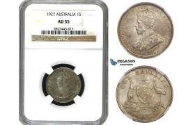 AA104, Australia, George V, Shilling 1927, Silver,  NGC AU55