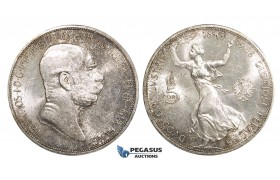 AA105, Austria, Franz Joseph, 5 Corona 1908 (60th Jubilee) Vienna, SIlver, Lustrous aUNC