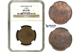 AA106, China, 10 Cash 1920, Y-303, NGC MS63RB