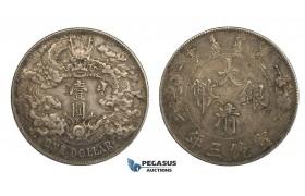 AA107, China, 1 Dollar Yr. 3 (1911) Silver, L&M 37 (No Period) Tiny Chop marks, Toned gVF