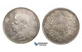 "AA108, China ""Fat man"" Yuan (Dollar) Yr. 3 (1914) Silver, L&M 63, Toned AU, few hairlines"