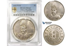 AA109, China, Dollar ND (1914) Silver, Y-322, L&M 858, PCGS Secure MS61, Rare!