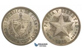 AA110, Cuba, 40 Centavos 1915, Philadelphia, Silver, Lustrous AU